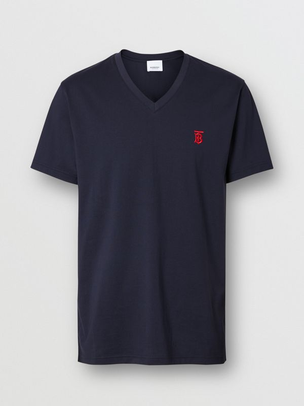 Monogram Motif Cotton V-neck T-shirt in Navy - Men | Burberry United Kingdom - cell image 3