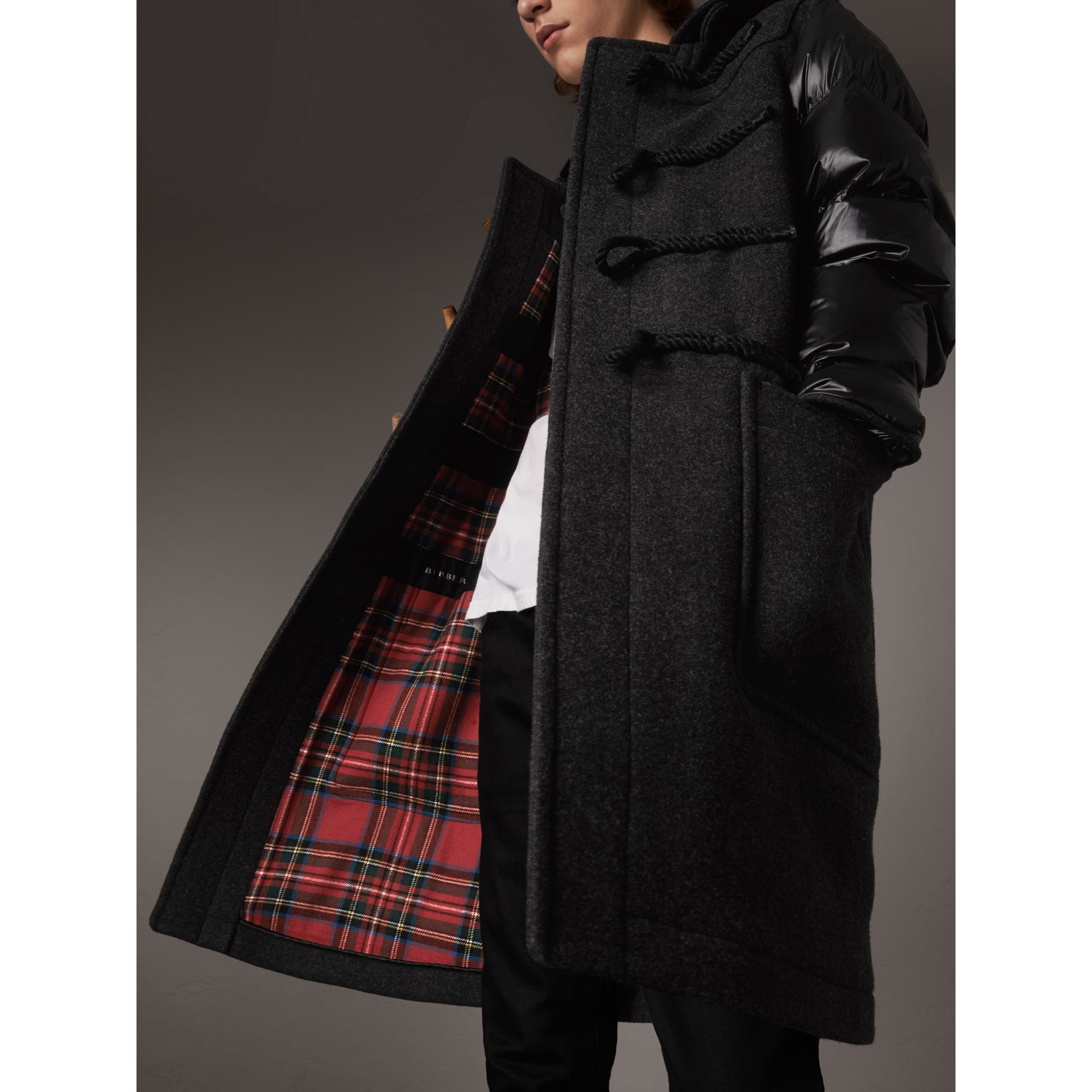 Down-filled Sleeve Wool Blend Duffle Coat in Dark Charcoal Melang ...