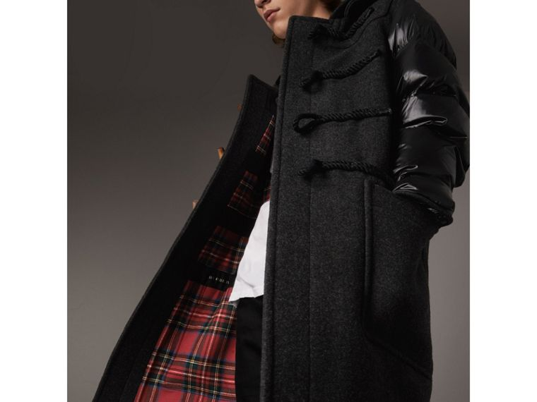 Down-filled Sleeve Wool Blend Duffle Coat in Dark Charcoal Melang - Men | Burberry - cell image 1