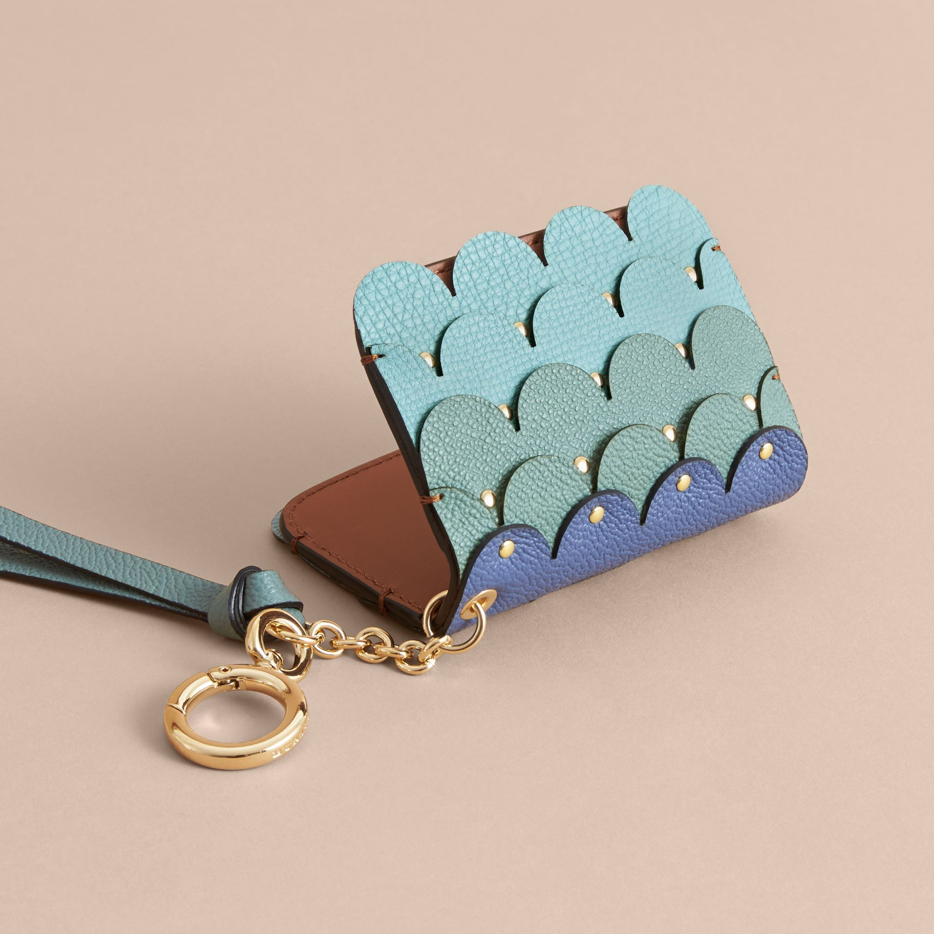 Scalloped Leather Card Case Bright Toffee - gallery image 3