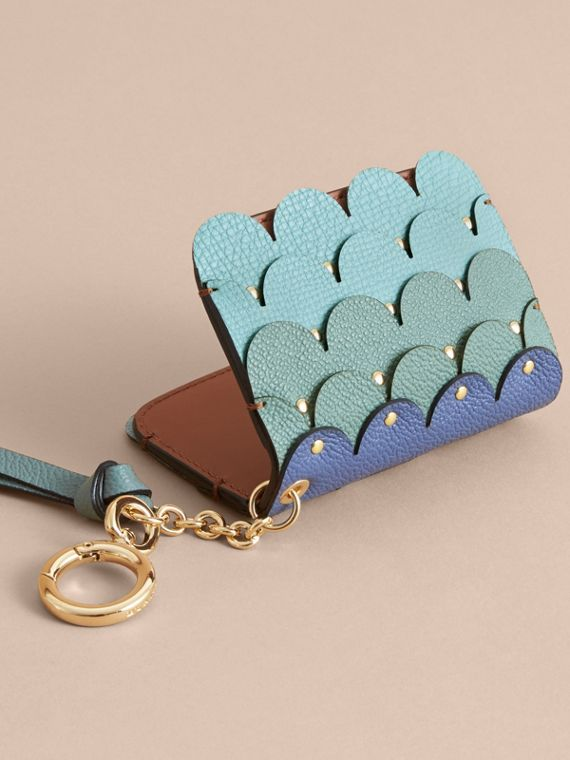 Scalloped Leather Card Case Bright Toffee - cell image 2