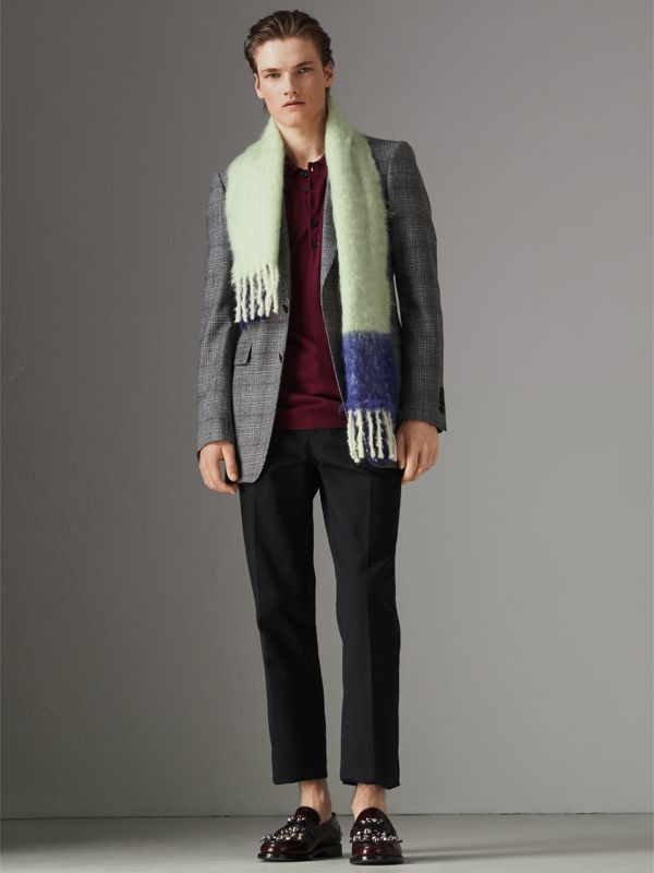Two-tone Mohair Wool Scarf in Pistachio Green | Burberry United Kingdom - cell image 3