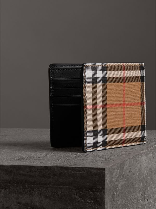 Vintage Check Leather ID Wallet in Black - Men | Burberry United States - cell image 2