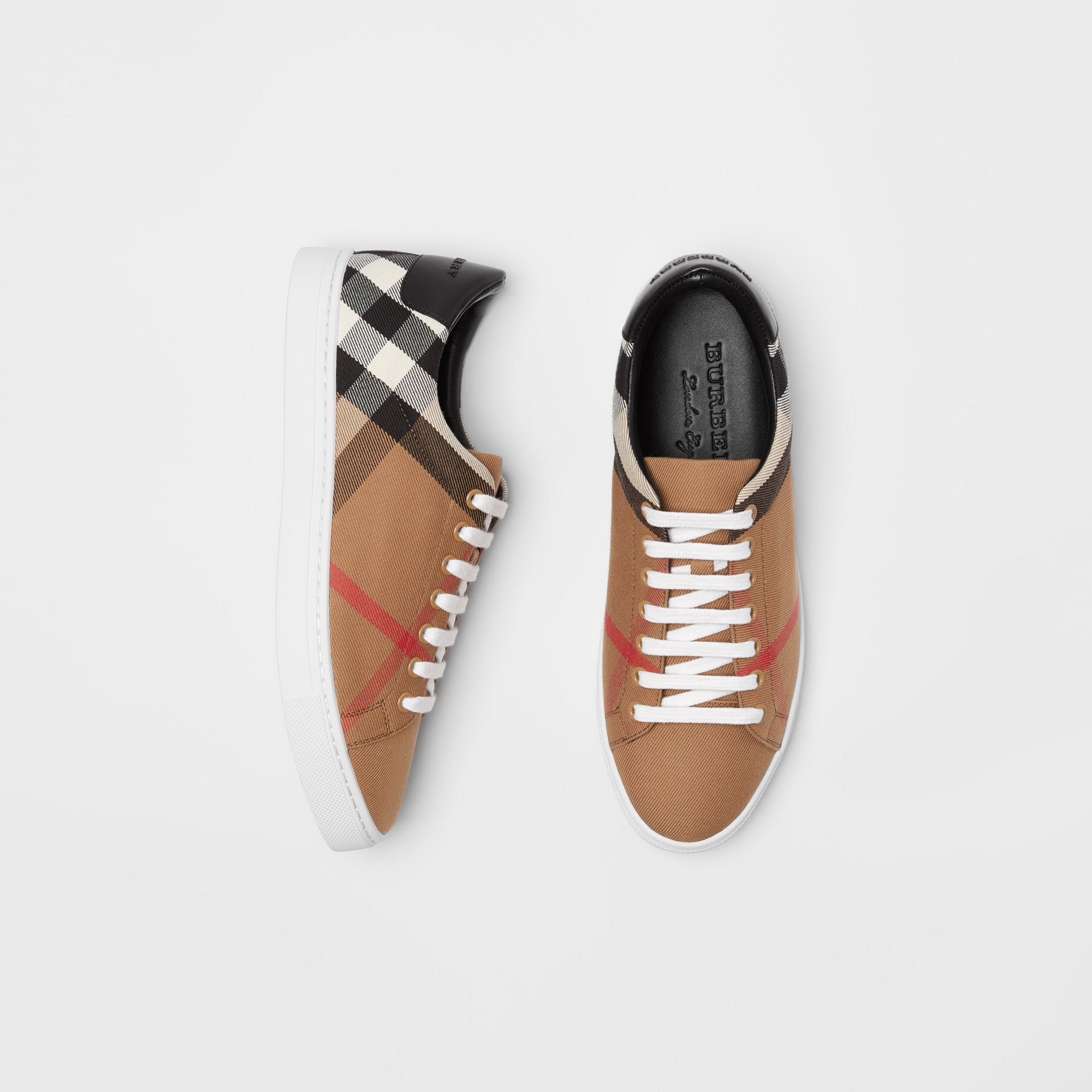 Sneakers en coton House check et cuir (Check/noir) - Homme | Burberry - photo de la galerie 0