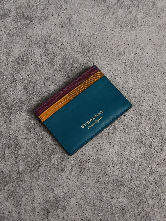 Kartenetui aus Leder, Waran- und Alligatorleder (Nickelblau)
