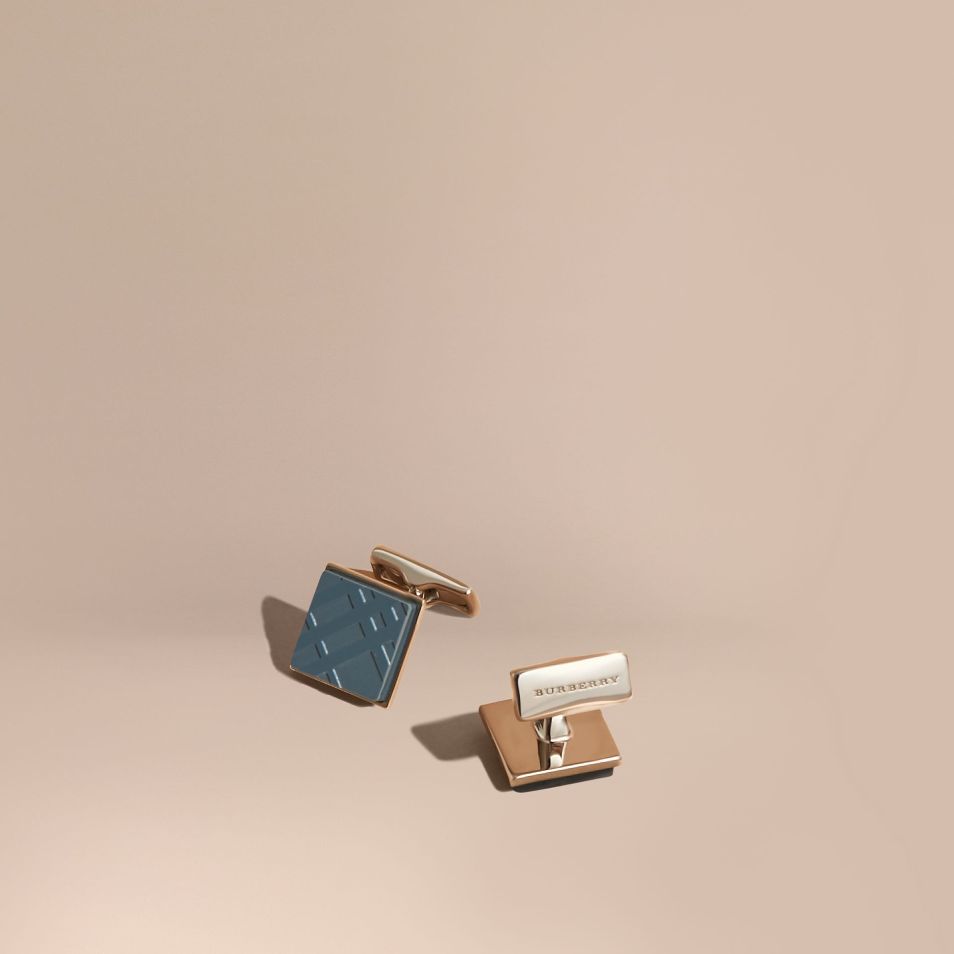 Check-engraved Square Cufflinks Mineral Blue - gallery image 1