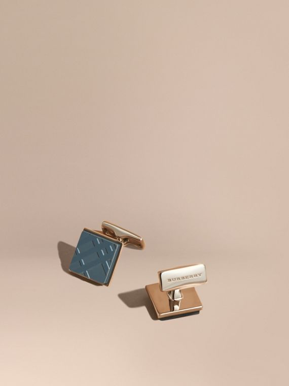 Check-engraved Square Cufflinks Mineral Blue