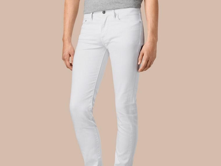 White Slim Fit Stretch Japanese Denim Jeans - cell image 4