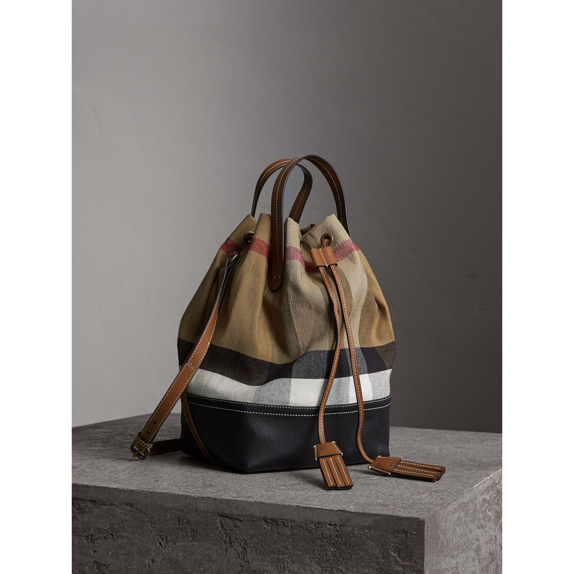 Medium Canvas Check Bucket Bag in Tan - Women | Burberry Hong Kong - gallery image 7