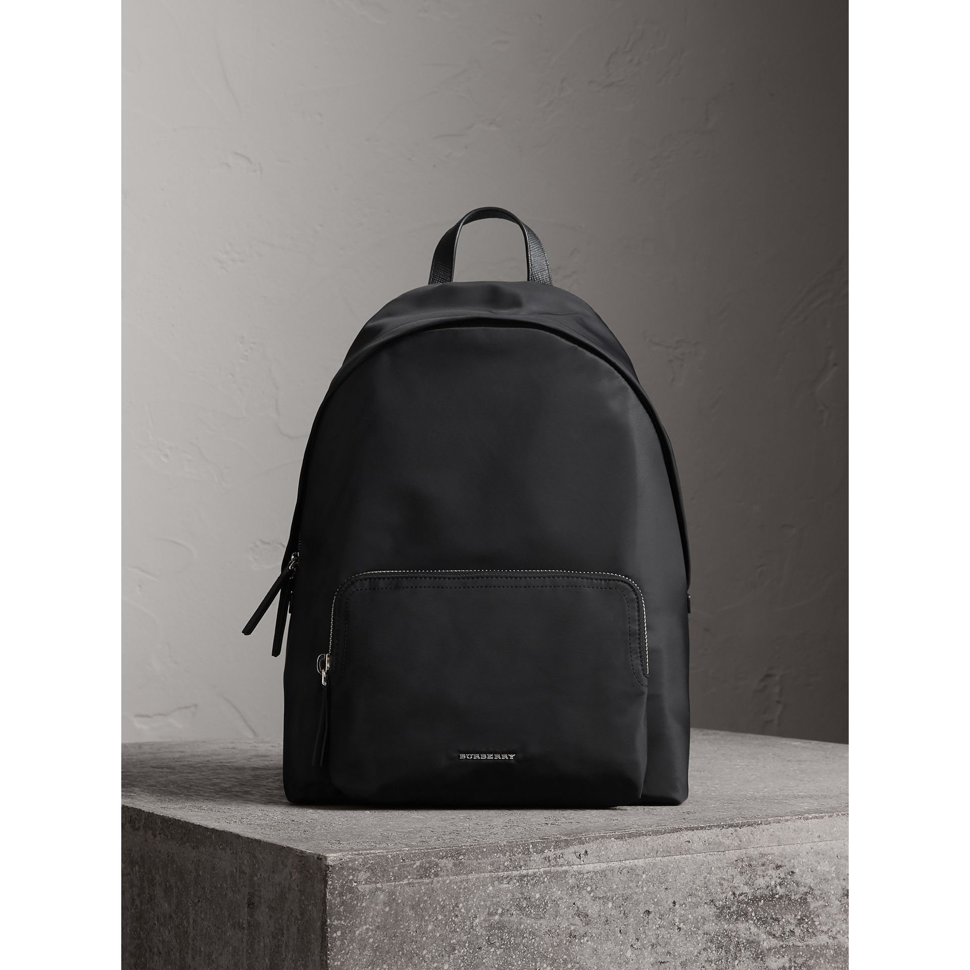 Leather Trim Nylon Backpack with Check Detail in Black - Men | Burberry - gallery image 1