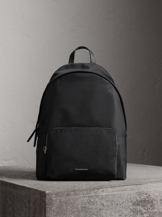 Leather Trim Nylon Backpack with Check Detail in Black