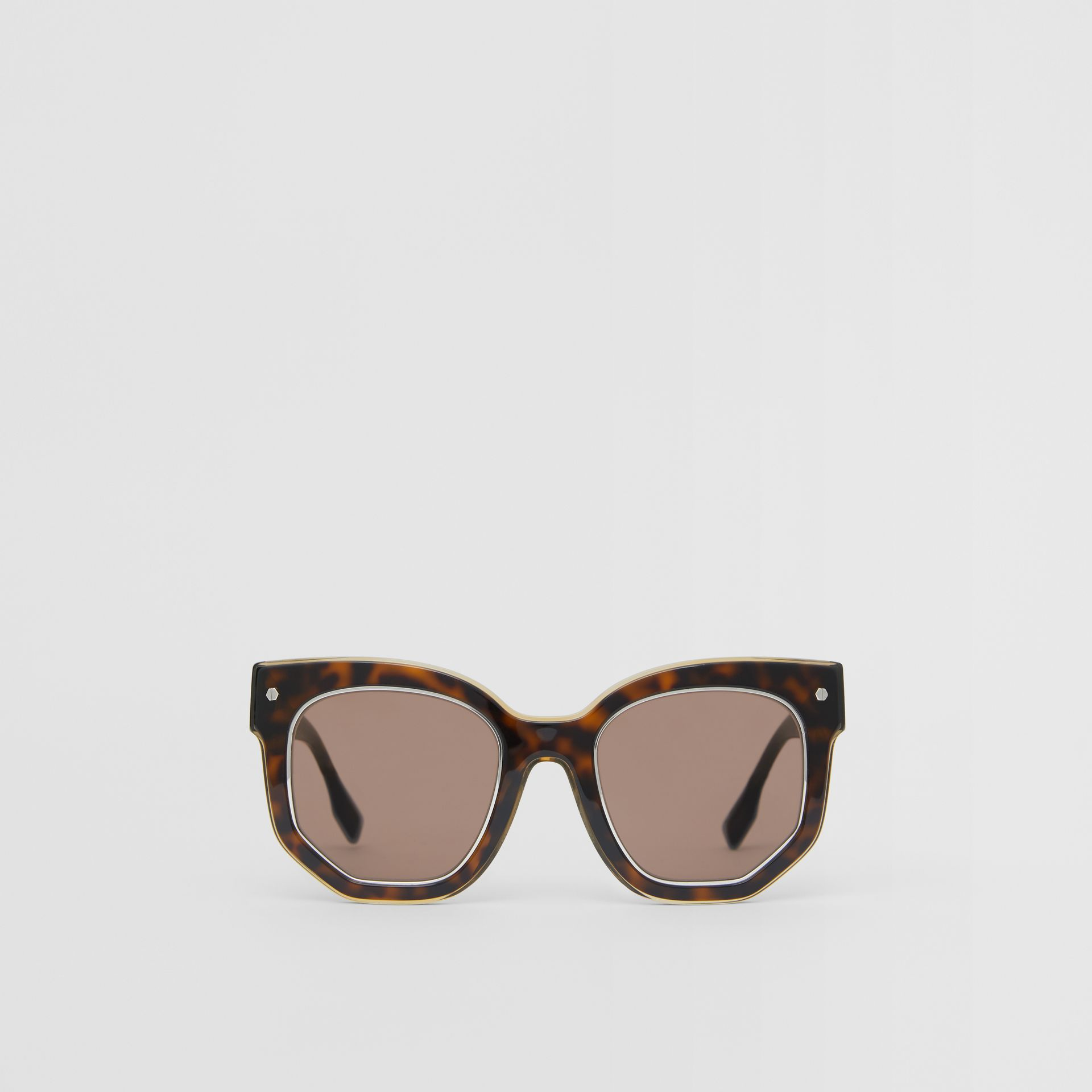 Geometric Frame Sunglasses in Tortoiseshell - Women | Burberry - gallery image 0