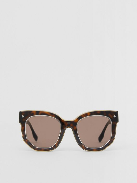 Geometric Frame Sunglasses in Tortoiseshell
