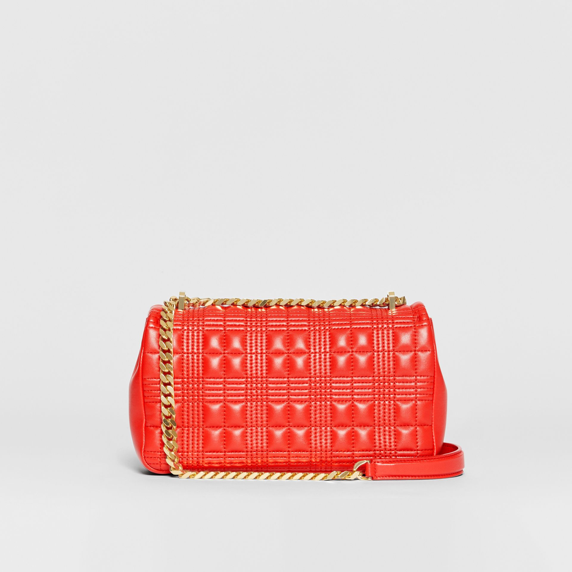 Small Quilted Check Lambskin Lola Bag in Bright Red - Women | Burberry - gallery image 7