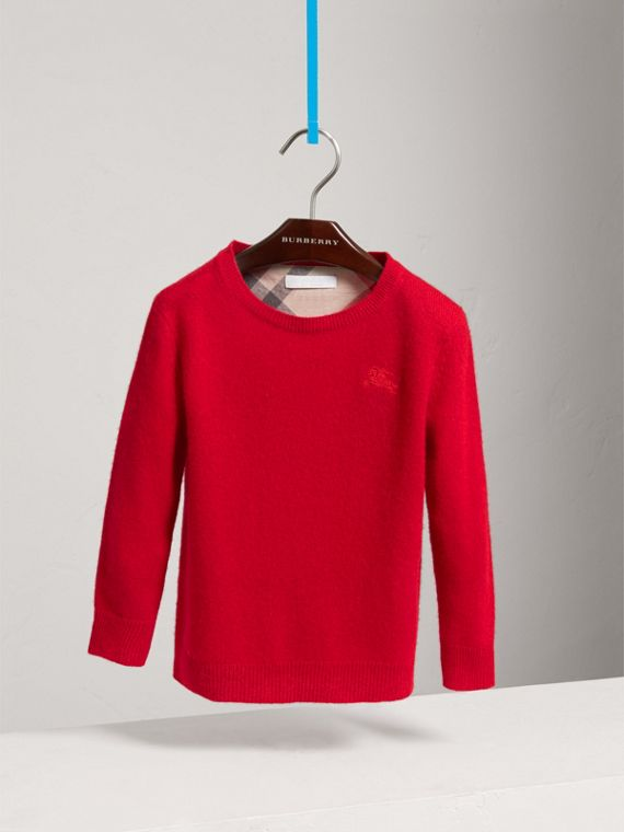 Check Elbow Patch Cashmere Sweater in Parade Red - Boy | Burberry - cell image 2