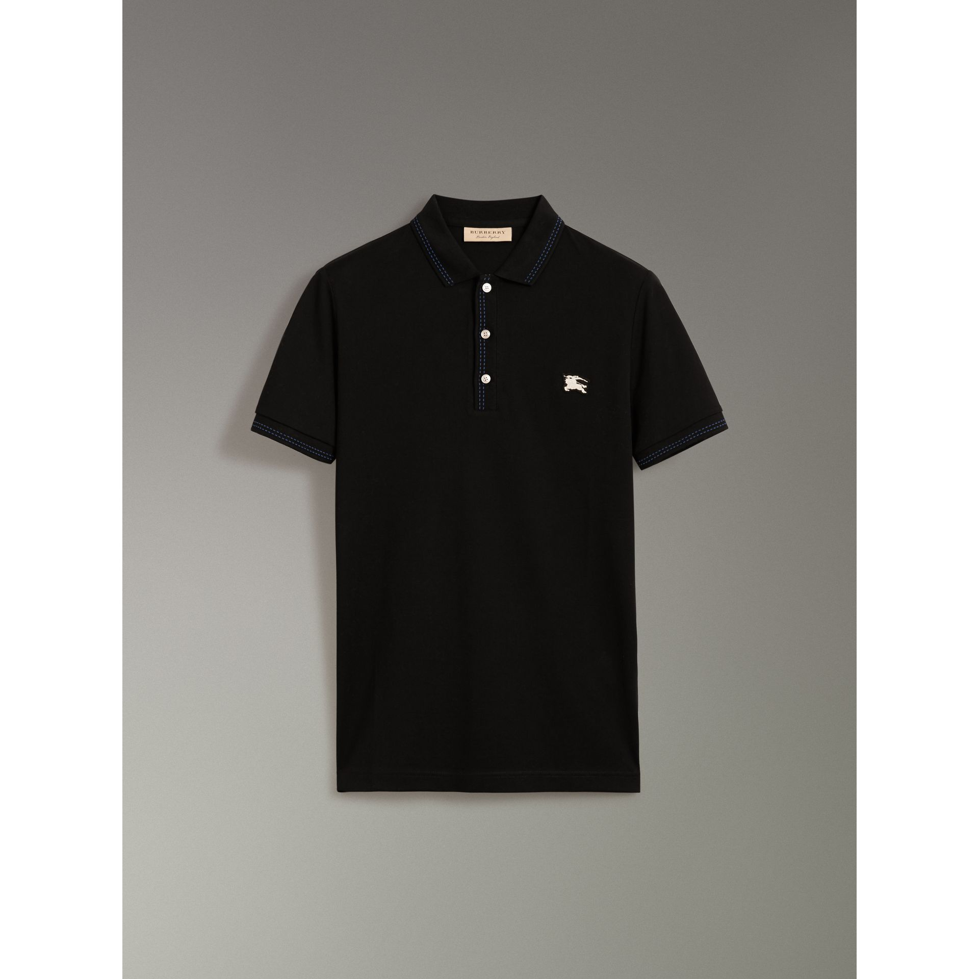 Cotton Piqué Polo Shirt in Black - Men | Burberry - gallery image 3