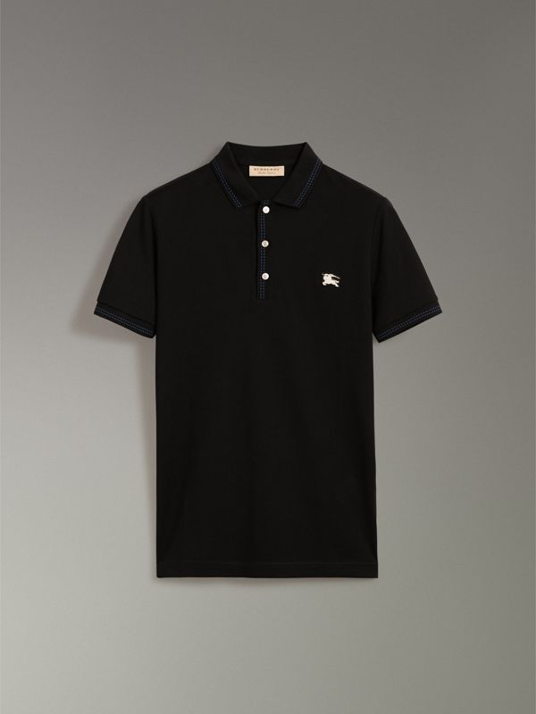 Cotton Piqué Polo Shirt in Black - Men | Burberry Canada - cell image 3