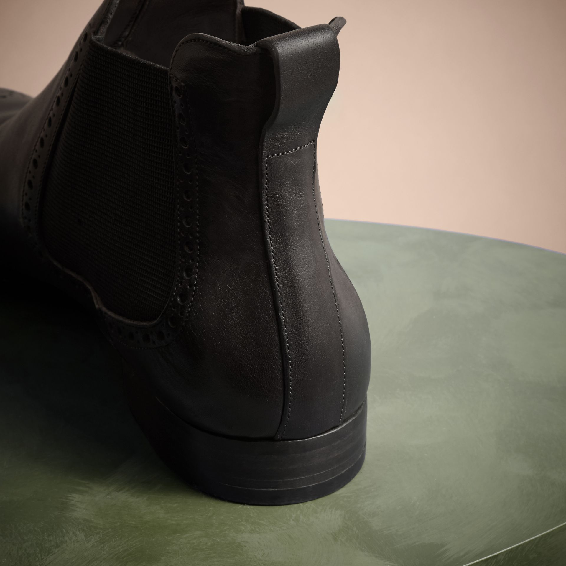Ebony Washed-leather Chelsea Boots - gallery image 4