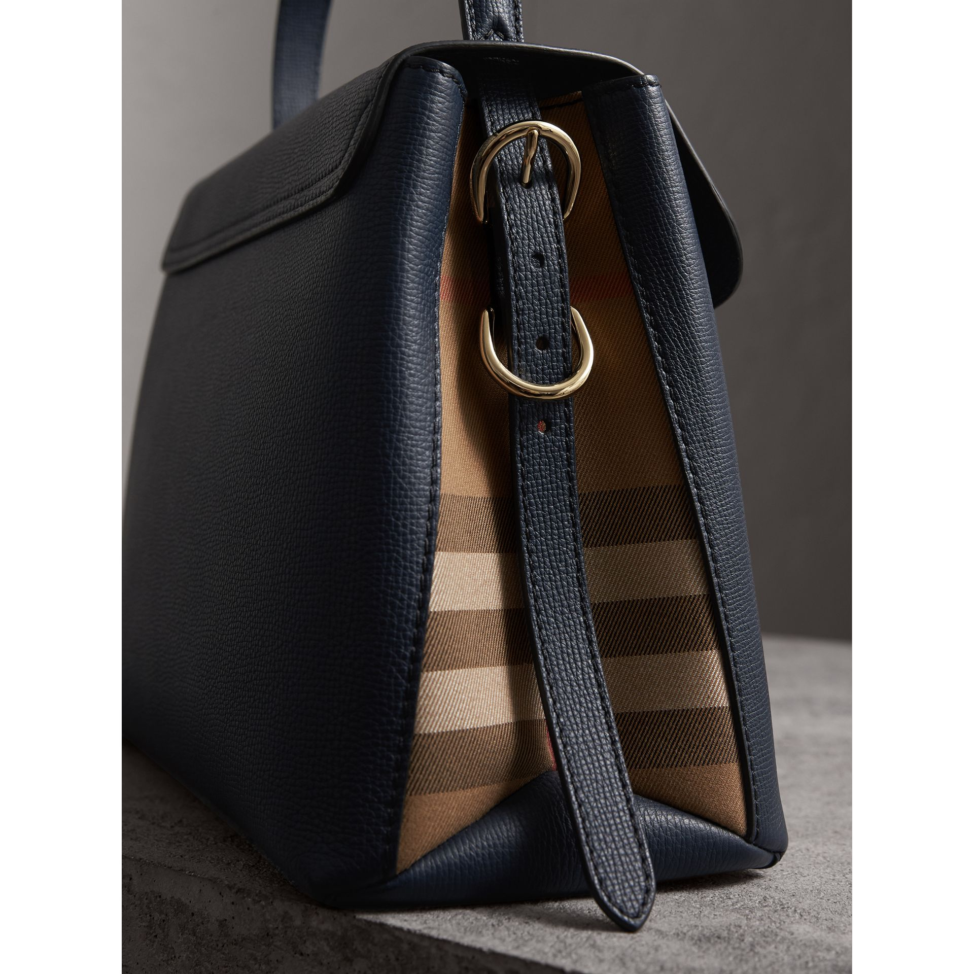 Medium Grainy Leather and House Check Tote Bag in Ink Blue - Women | Burberry - gallery image 1