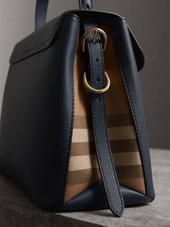 Medium Grainy Leather and House Check Tote Bag in Ink Blue - Women | Burberry Australia - cell image 1