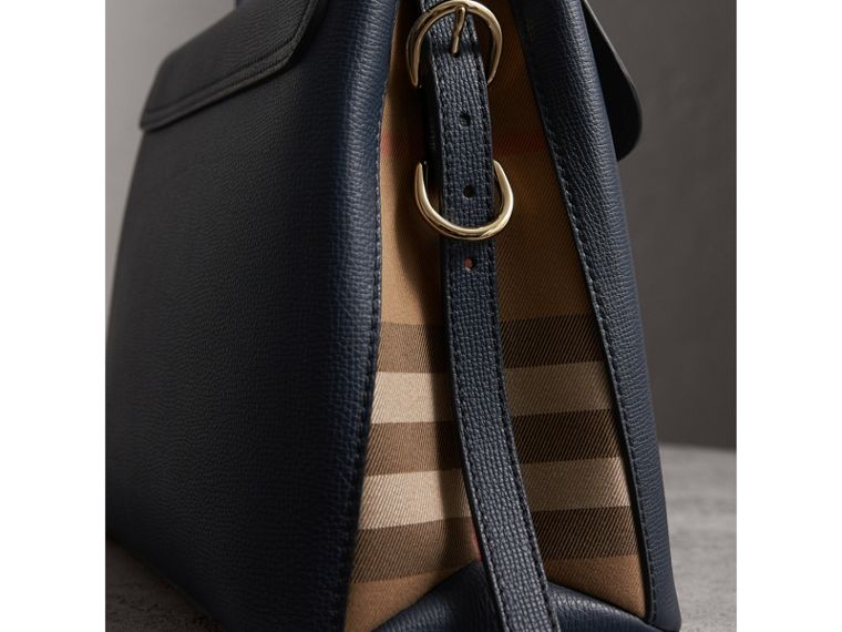 Medium Grainy Leather and House Check Tote Bag in Ink Blue - Women | Burberry - cell image 1