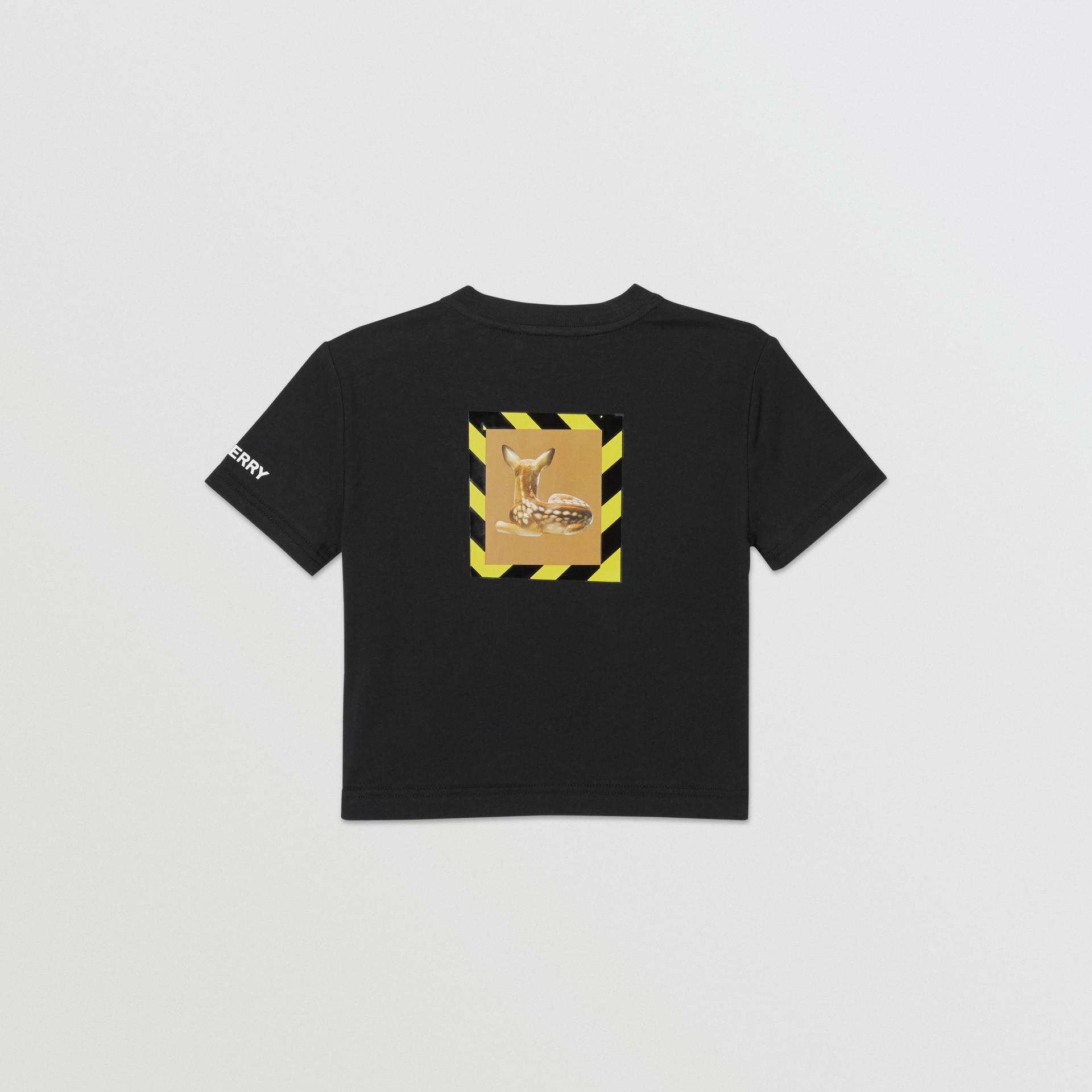 Deer Print Cotton T-shirt in Black - Children | Burberry Australia - gallery image 3