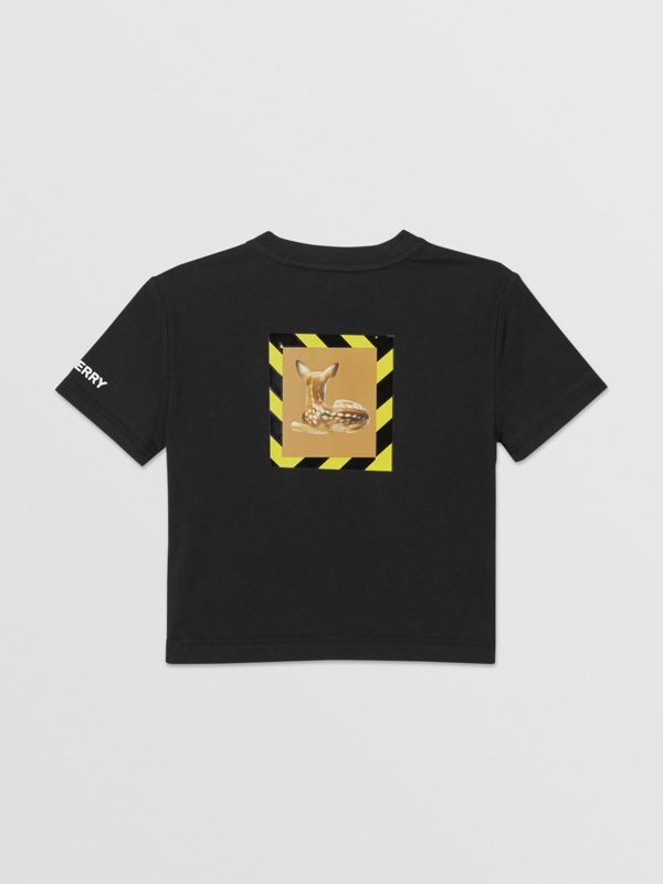 Deer Print Cotton T-shirt in Black - Children | Burberry Australia - cell image 3