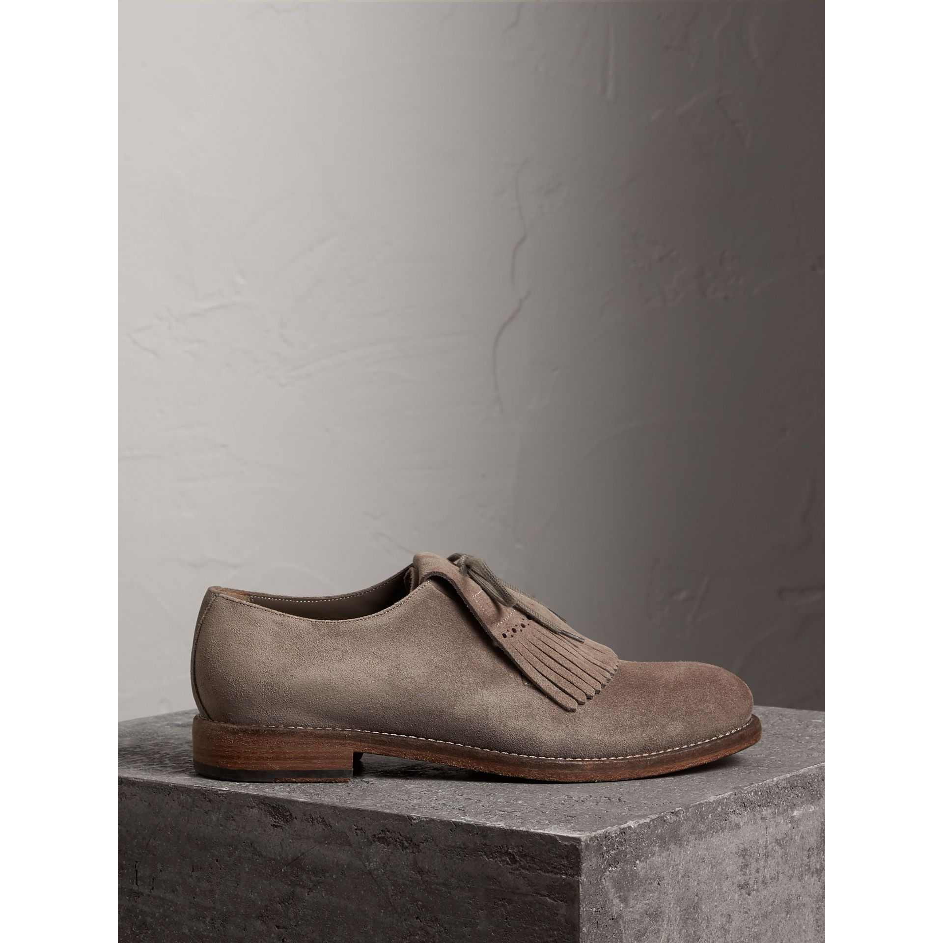 Lace-up Kiltie Fringe Suede Loafers in Steel Grey - Men | Burberry - gallery image 4