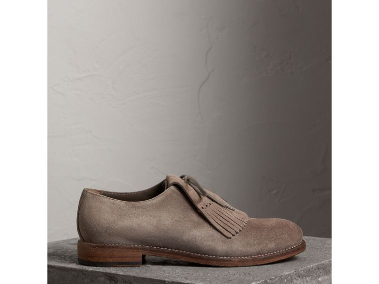 Lace-up Kiltie Fringe Suede Loafers in Steel Grey - Men | Burberry United Kingdom - cell image 4