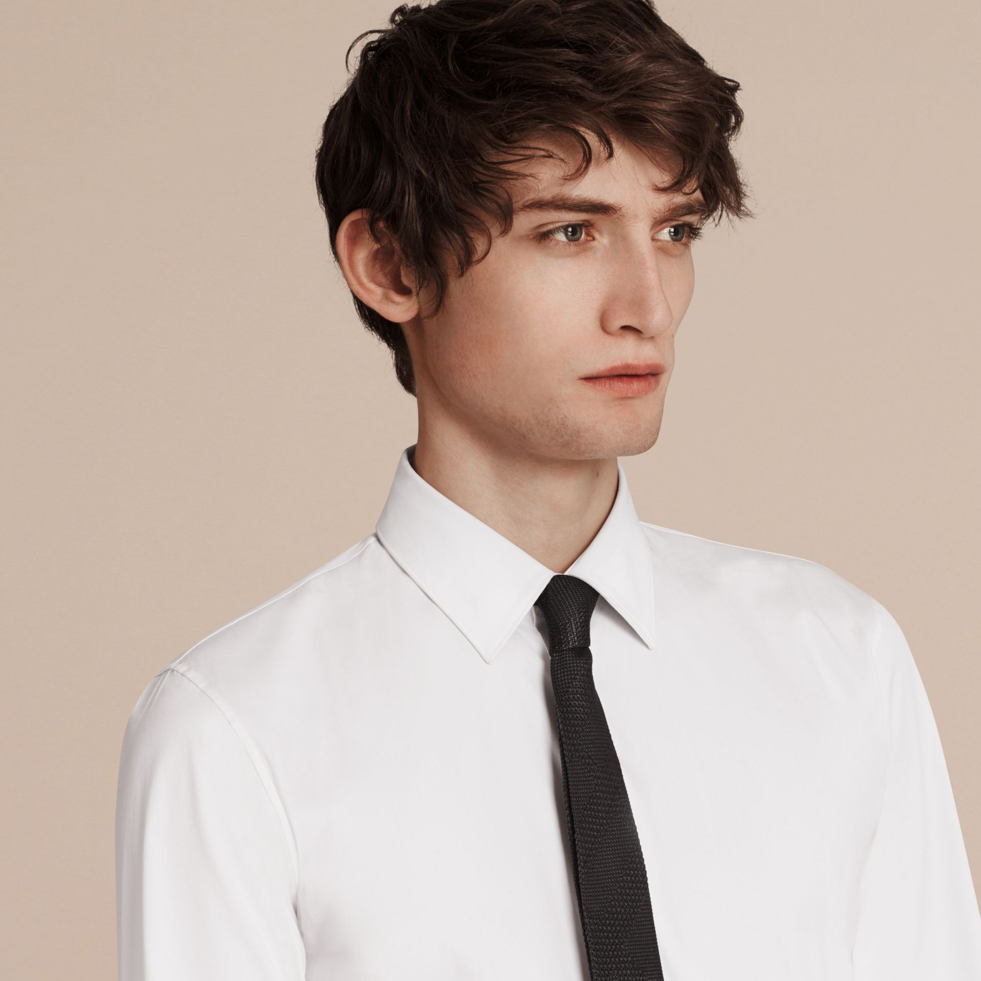 Slim Fit Stretch Cotton Shirt in White - Men | Burberry Singapore - gallery image 3