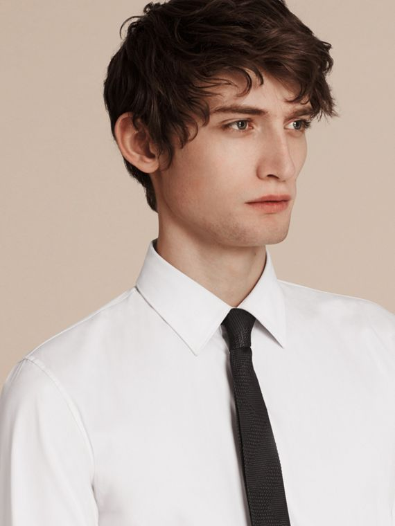 Slim Fit Stretch Cotton Shirt in White - Men | Burberry Singapore - cell image 2