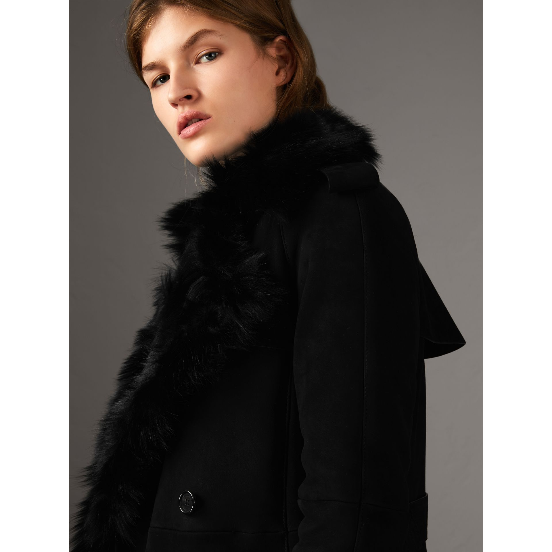 Shearling Long Trench Coat in Black - Women | Burberry - gallery image 2