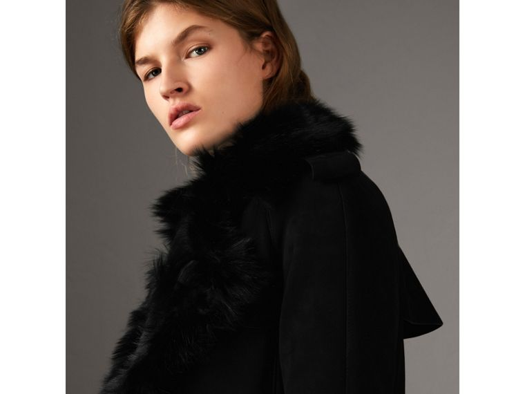 Shearling Long Trench Coat in Black - Women | Burberry - cell image 1