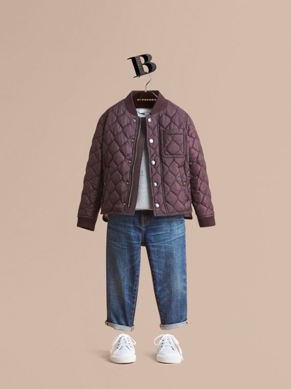 Contrast Topstitch Detail Quilted Jacket in Elderberry - Boy | Burberry