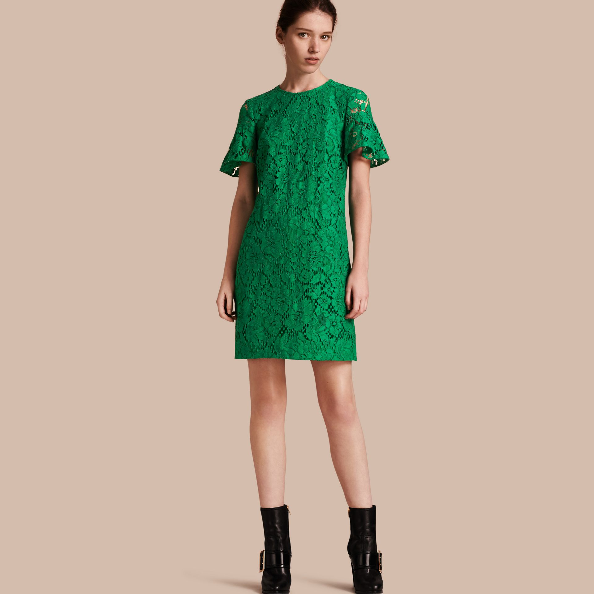 Macramé Lace Short Shift Dress with Ruffle Sleeves Kelly Green - gallery image 1