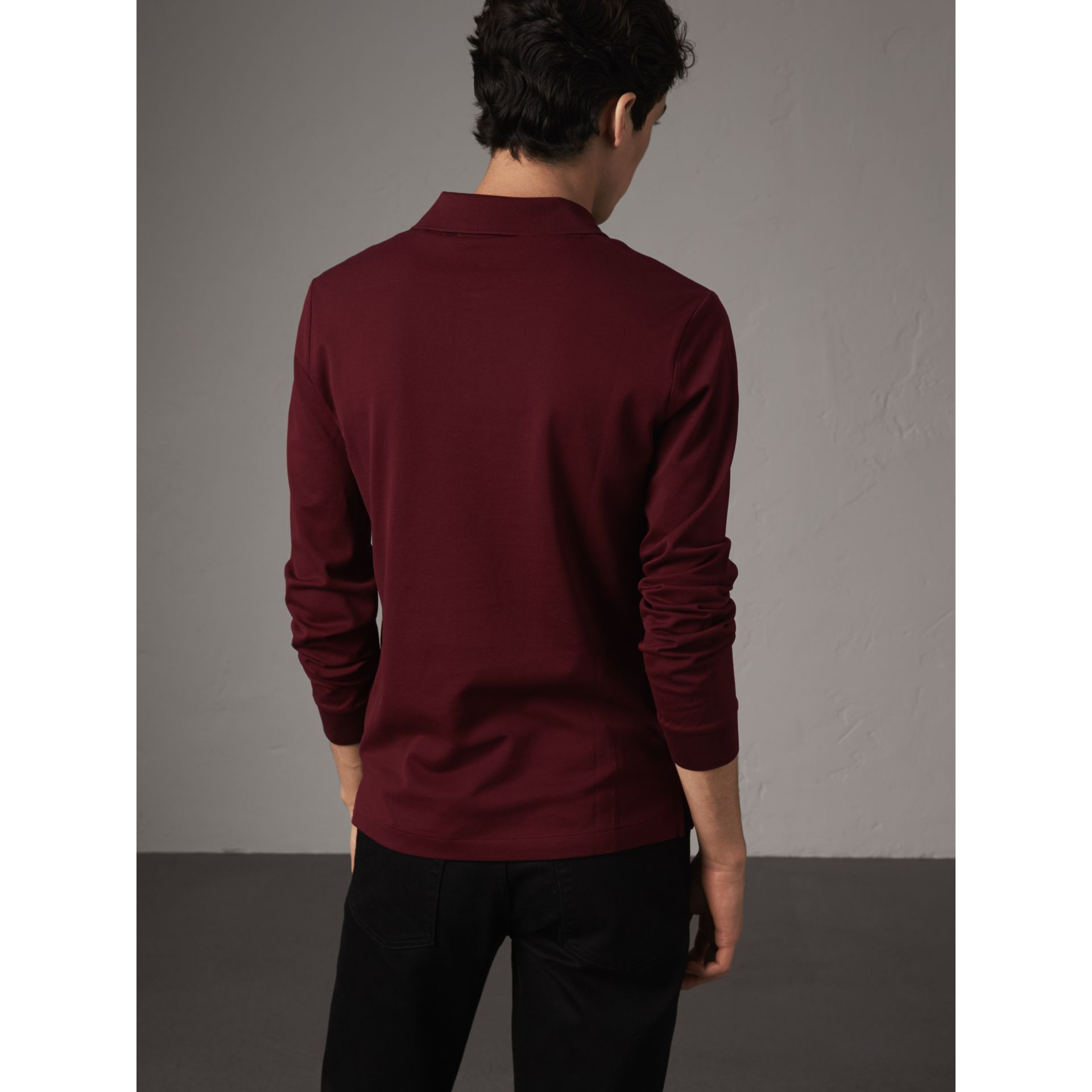Long-sleeve Cotton Piqué Polo Shirt in Burgundy Red - Men | Burberry - gallery image 3
