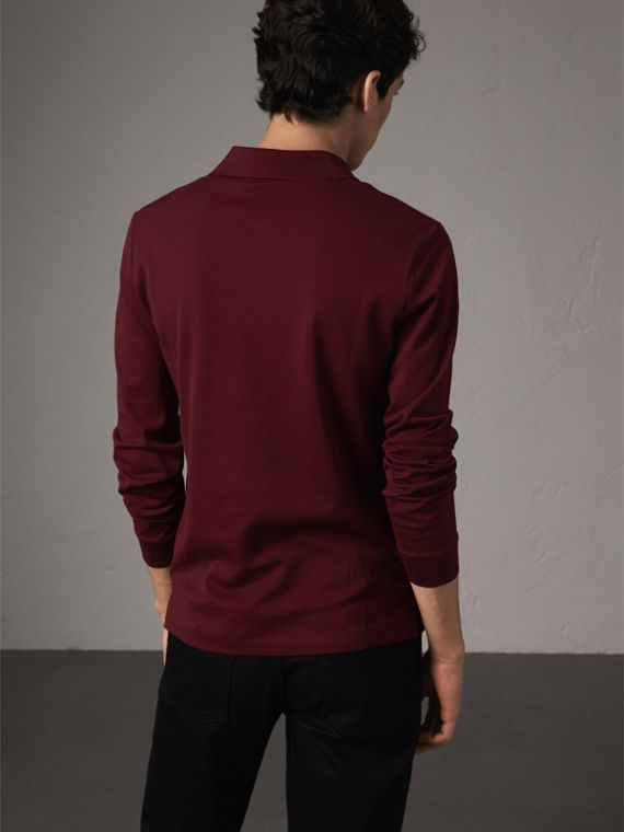 Long-sleeve Cotton Piqué Polo Shirt in Burgundy Red - Men | Burberry - cell image 2
