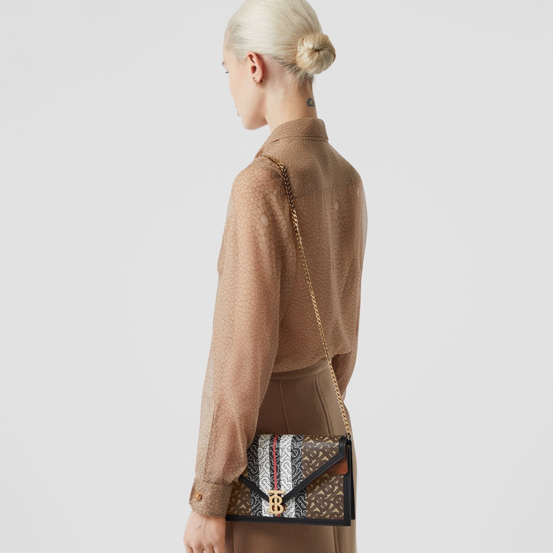 Small Monogram Stripe E-canvas TB Envelope Clutch in Bridle Brown - Women | Burberry - gallery image 2