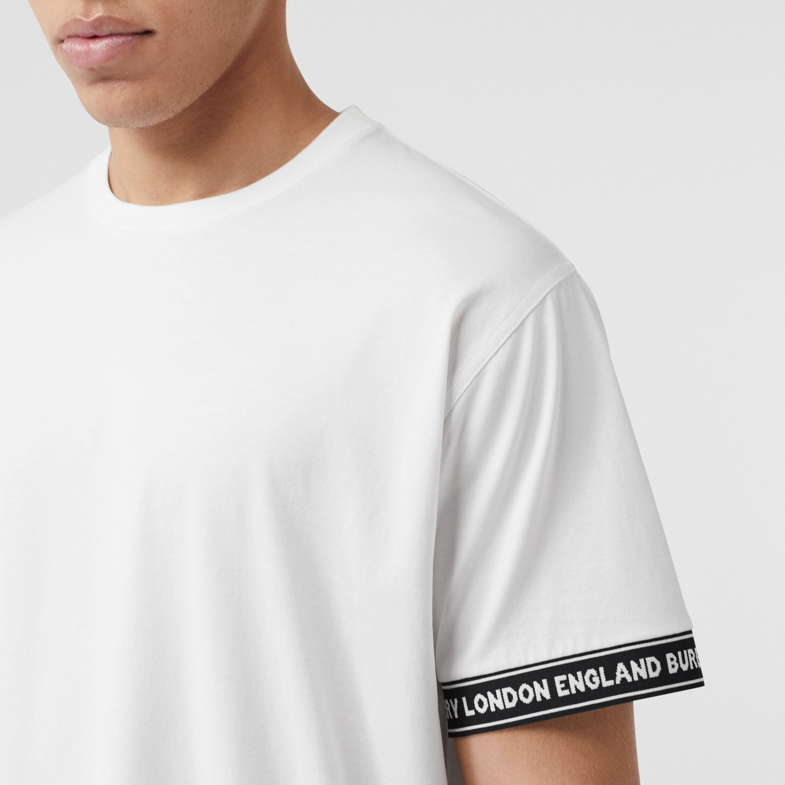 Logo Tape Cotton Oversized T-shirt in White - Men | Burberry - 2