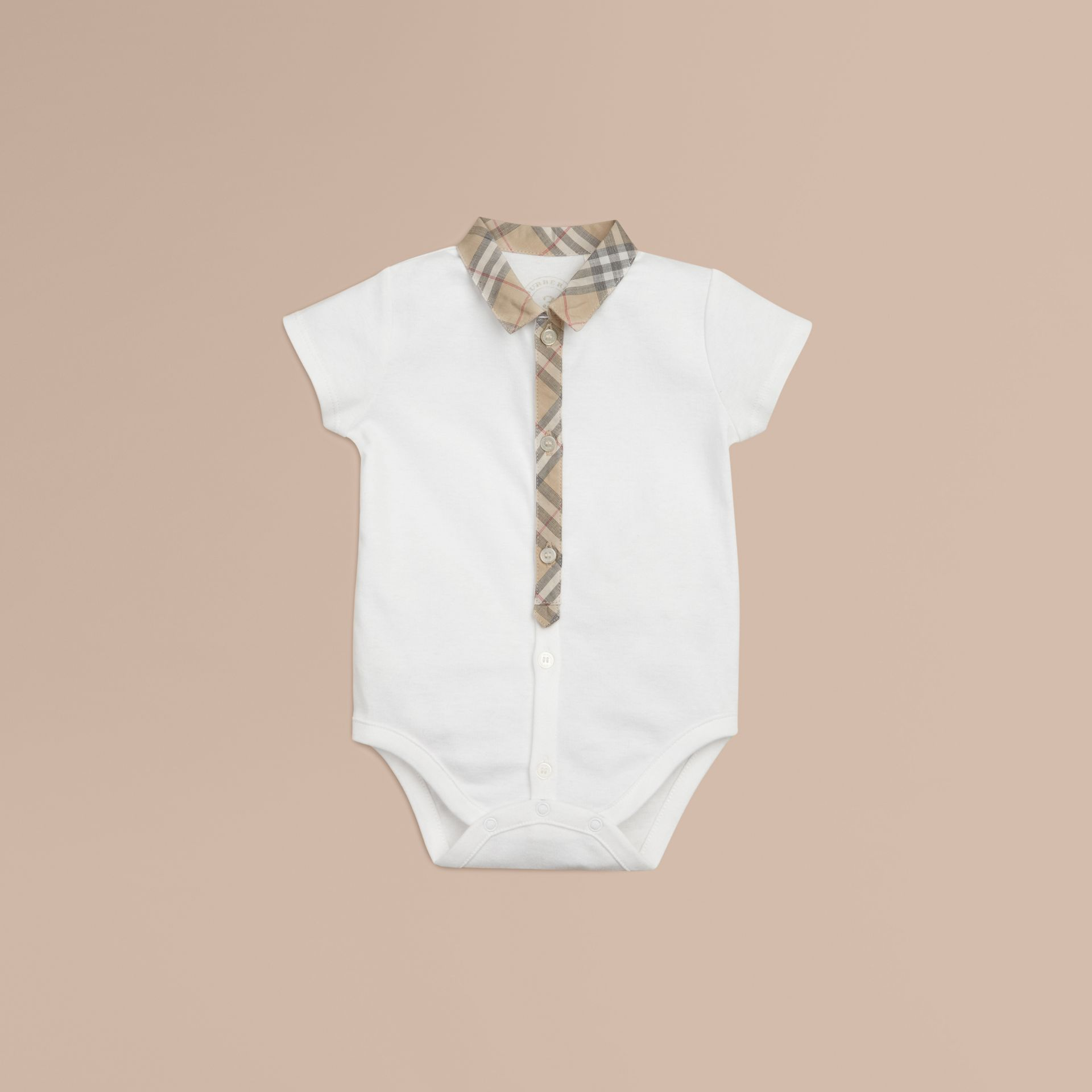 Check Detail Cotton Bodysuit in White | Burberry - gallery image 1