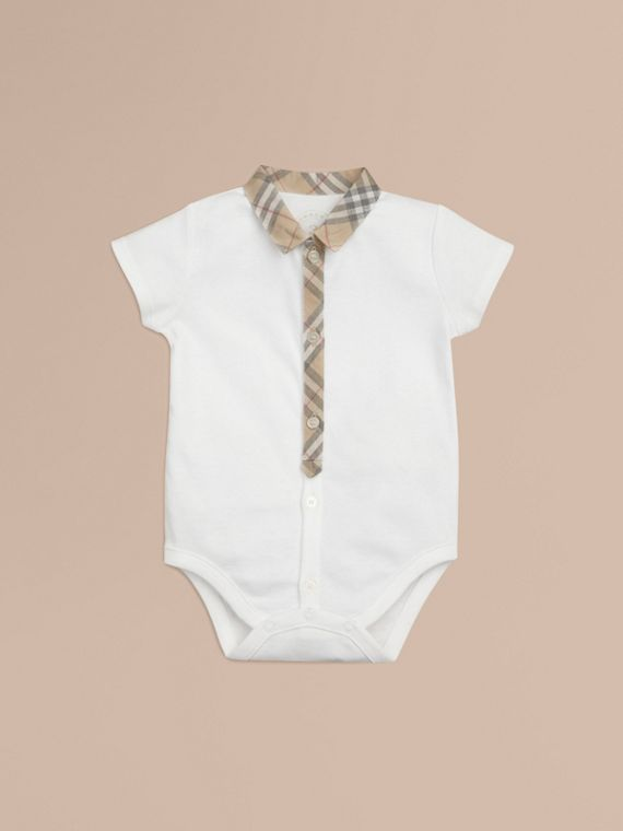 Check Detail Cotton Bodysuit in White
