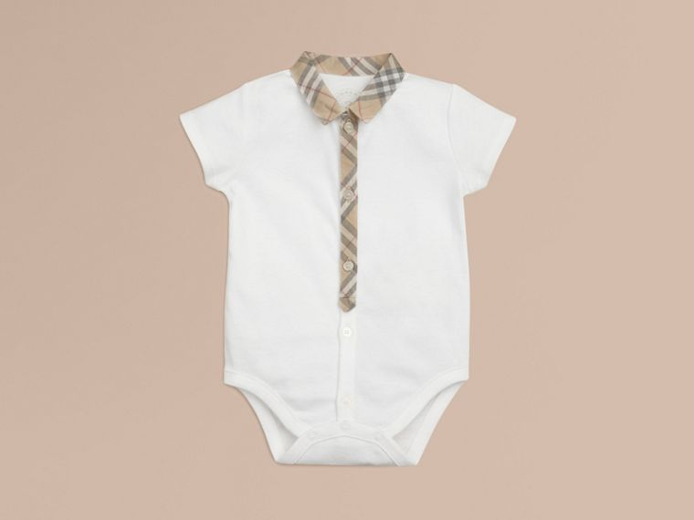 Check Detail Cotton Bodysuit