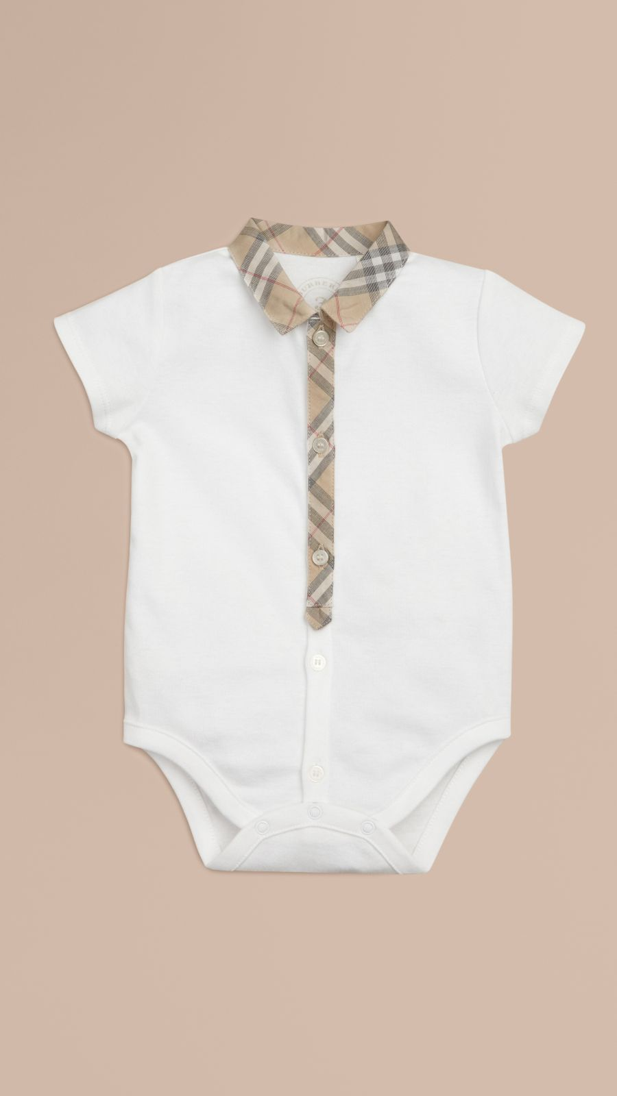 White Check Detail Cotton Bodysuit White - Image 1
