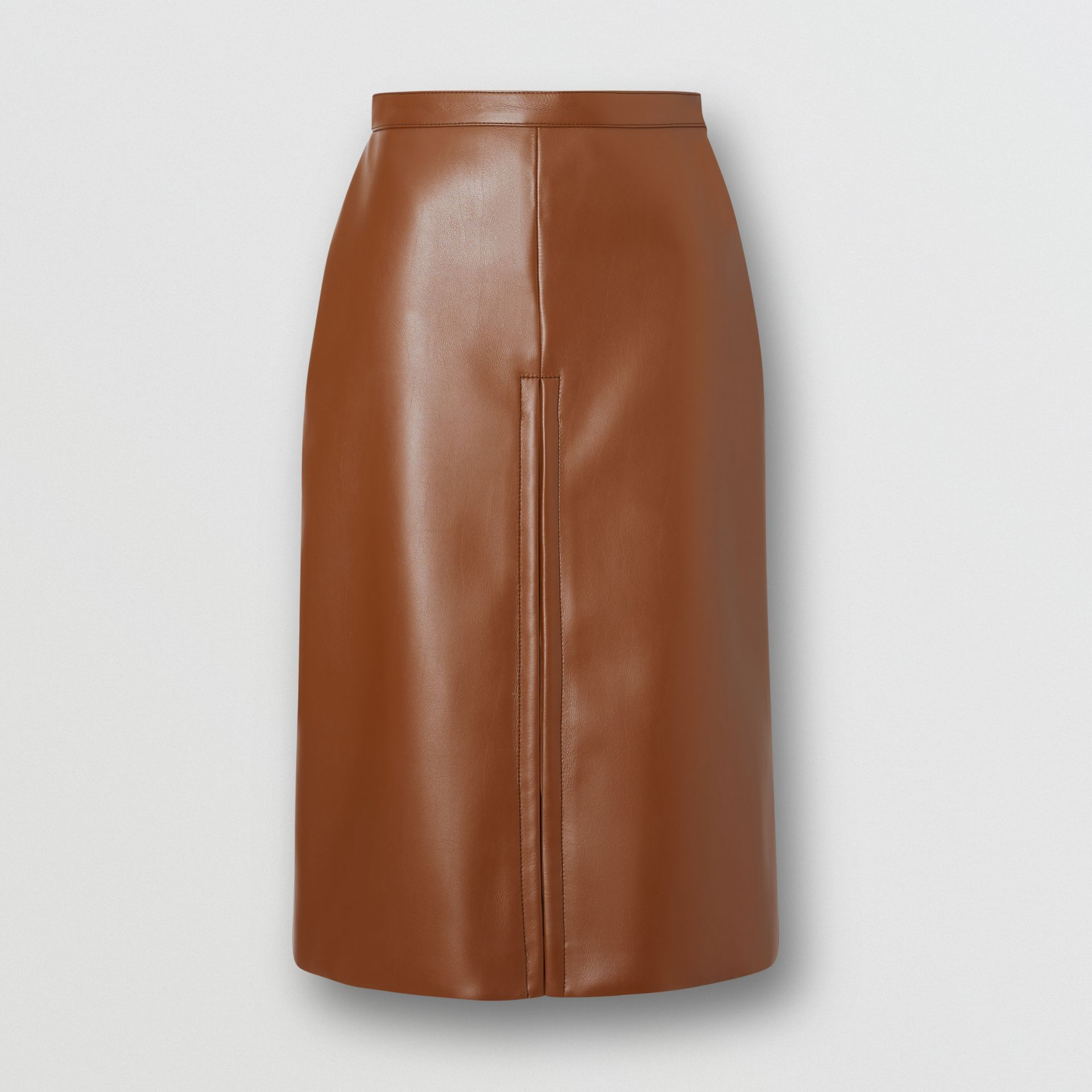 Box Pleat Detail Faux Leather Skirt in Dark Cheshnut Brown - Women | Burberry - gallery image 3