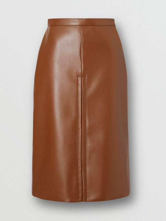 Box Pleat Detail Faux Leather Skirt in Dark Cheshnut Brown