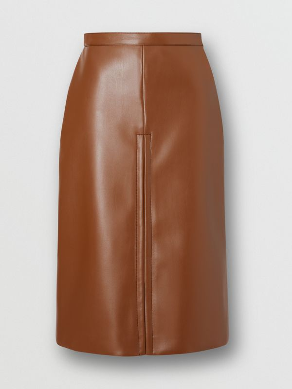 Box Pleat Detail Faux Leather Skirt in Dark Cheshnut Brown - Women | Burberry - cell image 3
