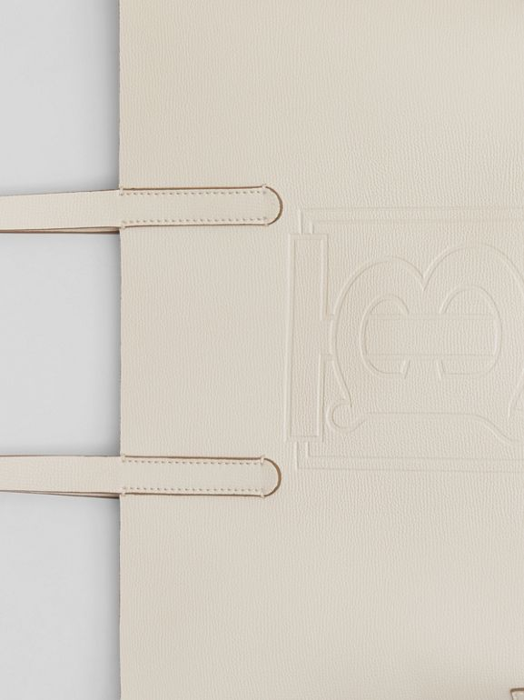 Embossed Monogram Motif Leather Tote in Limestone - Women | Burberry Australia - cell image 1