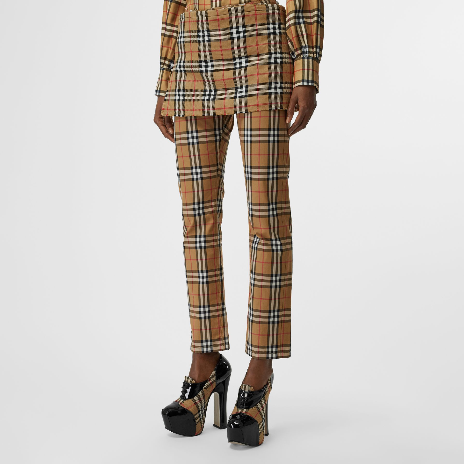Vintage Check Wool Mini Kilt in Antique Yellow | Burberry - gallery image 4