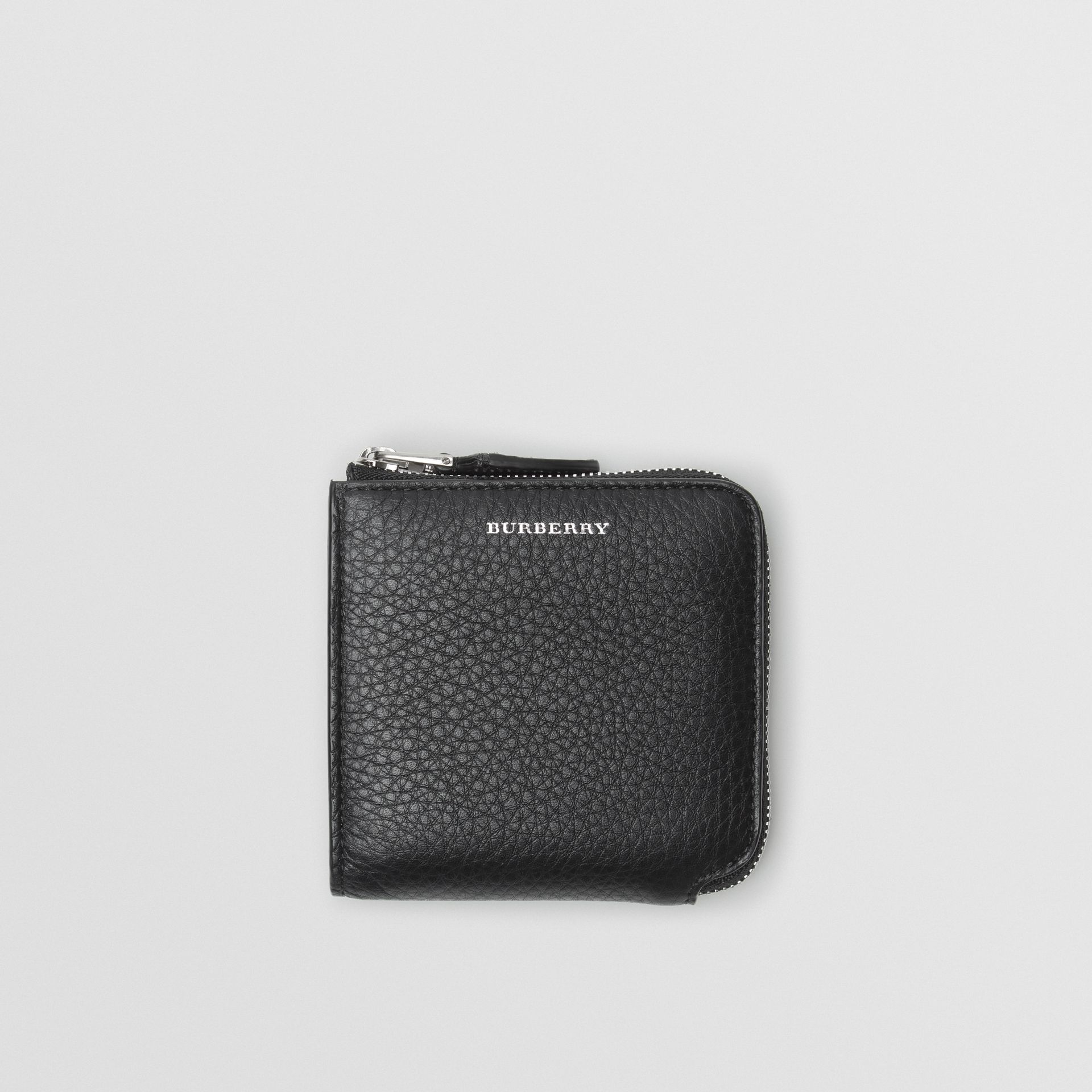 Grainy Leather Square Ziparound Wallet in Black - Women | Burberry United States - gallery image 0