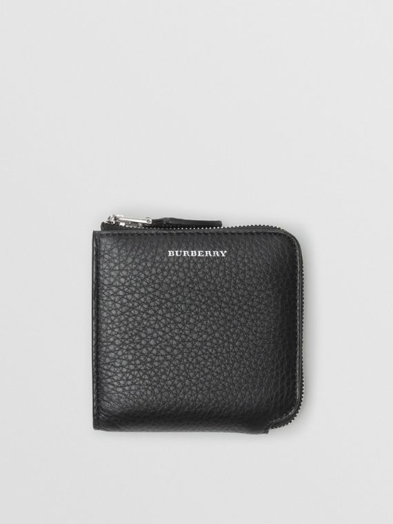 Grainy Leather Square Ziparound Wallet in Black